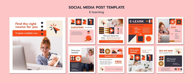 E-learning social media post template