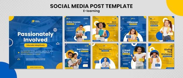 Modello di post sui social media di e-learning