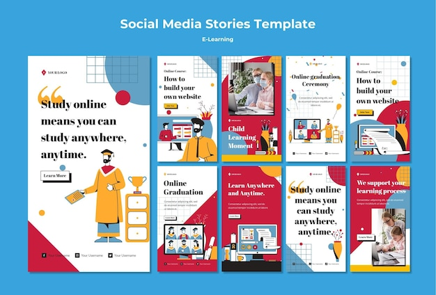 E-learning social media stories template