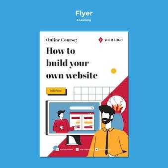 E-learning концепция дизайна флаеров