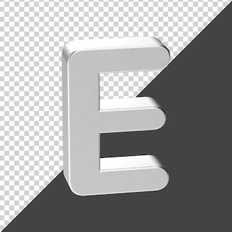 3d 렌더링에서 실버로 만든 e 편지 3d 현실적인 편지 e