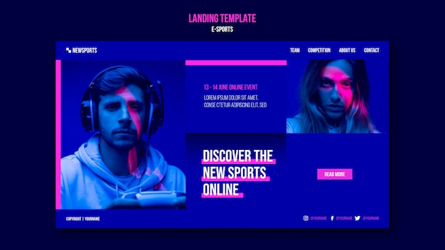 E-sports landing page design template