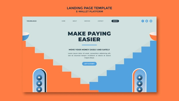E-wallet app landing page template