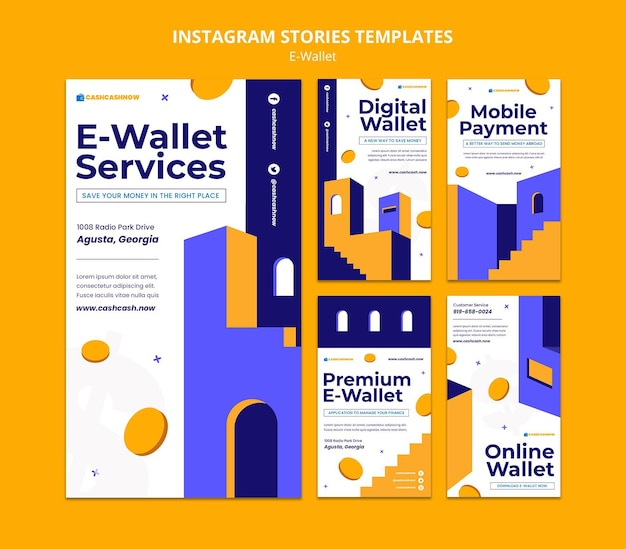 Шаблон историй instagram услуг электронного кошелька
