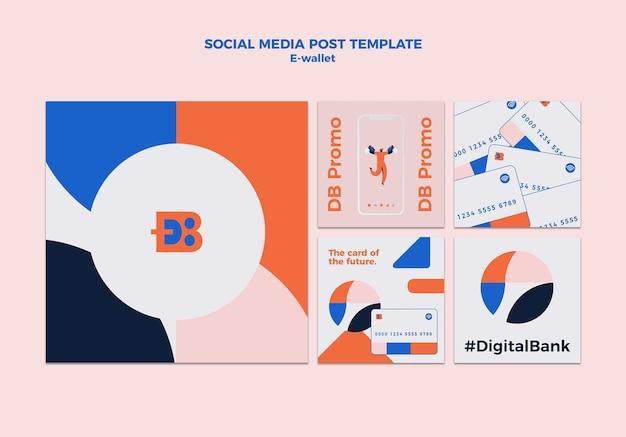 전자 지갑 소셜 미디어 포스트 디자인 템플릿 무료 PSD 파일