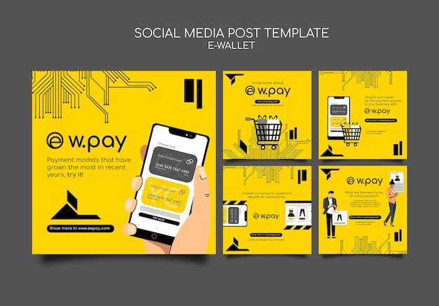 Modello di post sui social media del portafoglio elettronico