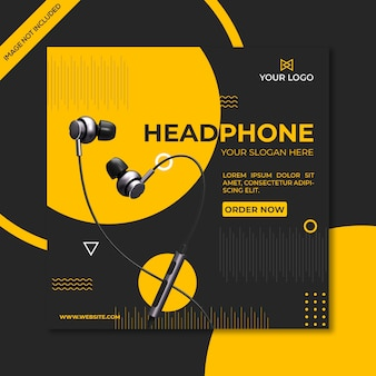Earphone product social media square promotional template