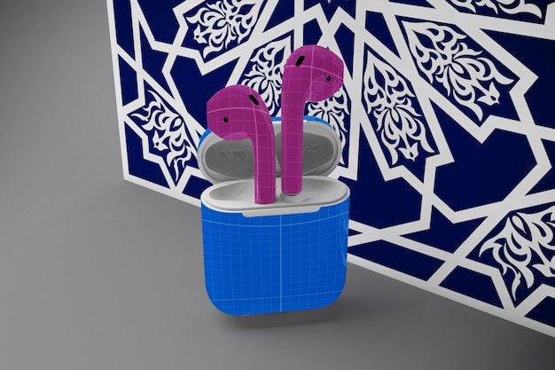 Earphones case mockup with arabic decoration