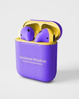 Earphones with packaging mockup