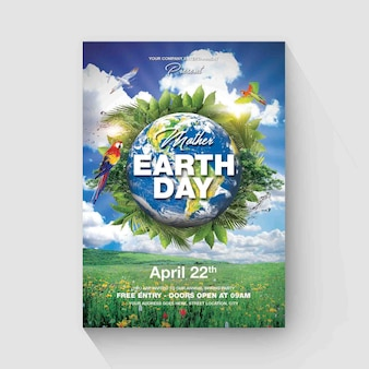 Eart day flyer template
