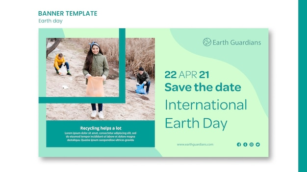 Earth day concept banner template