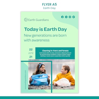 Earth day concept flyer template