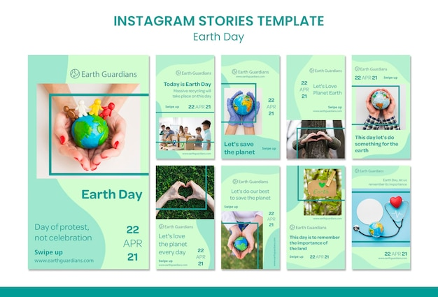 Earth day concept instagram stories template