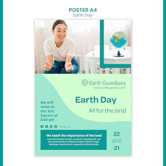 Earth day concept poster template