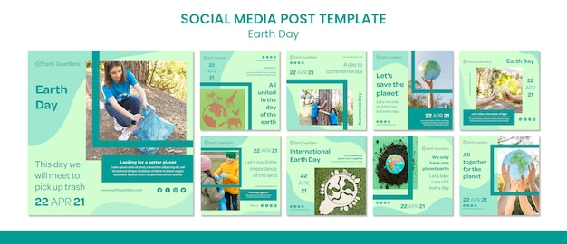 Earth day concept social media post template