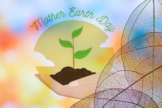 Earth day logo with translucent leaves