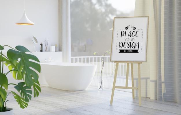 Макет мольберта на интерьере ванной комнаты