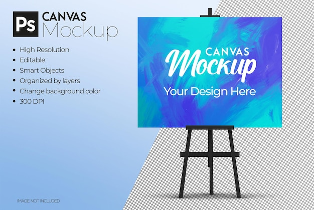 Easel with canvas mockup
