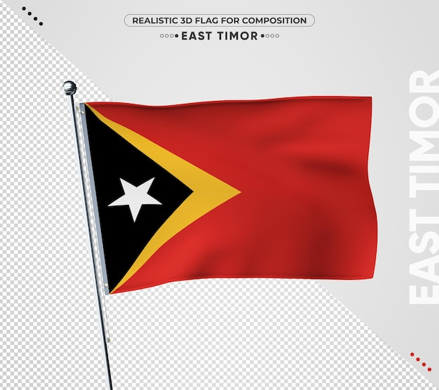 East timor flag with realistic texture