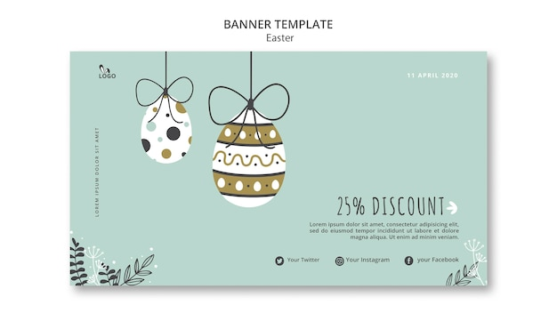 Easter banner template with discount