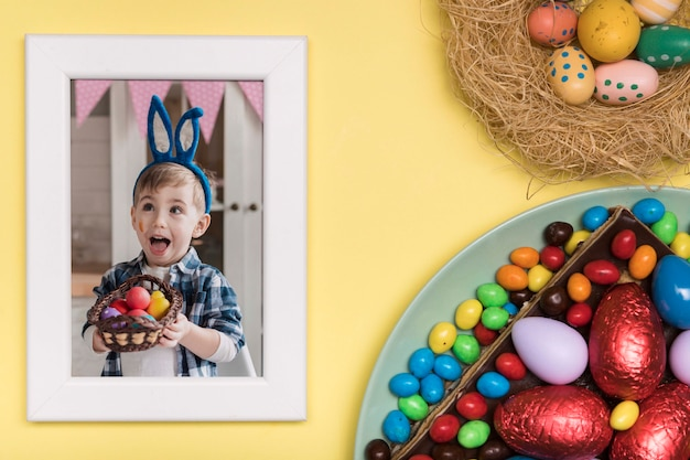 Easter boy photo and eggs