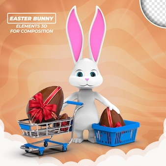 Easter bunny 3d for composition isolated