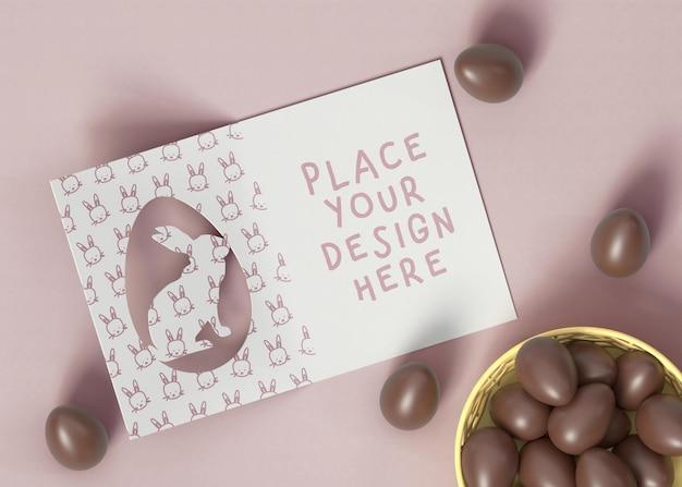 Пасхальная открытка с шоколадным макетом