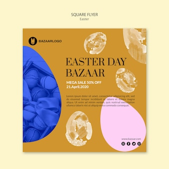 Easter concept square flyer