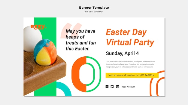 Easter day banner with colorful details