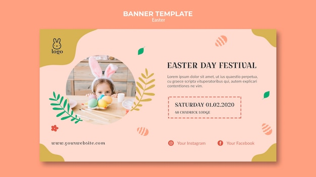 Easter day festival banner with photo