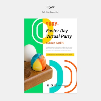 Easter day flyer with colorful details