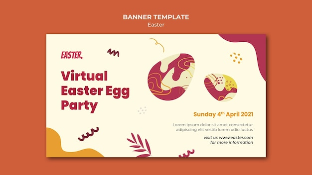 Easter day horizontal banner template