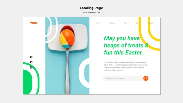 Easter day landing page with colorful details Free Psd