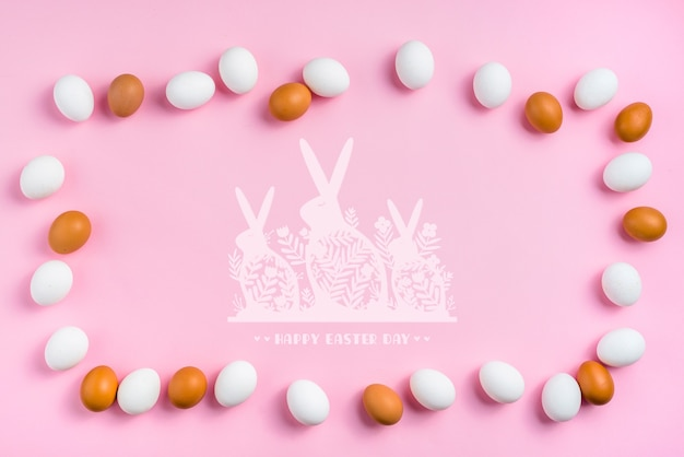 Easter day mockup with eggs and bunnies