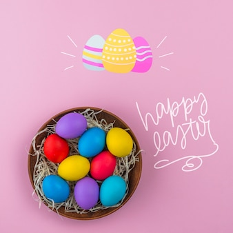 Easter day mockup with nest of colored eggs