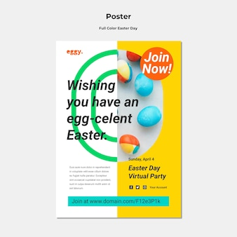 Easter day poster with colorful details