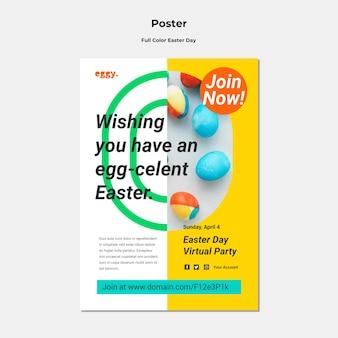 カラフルなディテールが施されたイースターデーのポスター