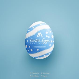 Easter egg mockup design isolated on blue color background