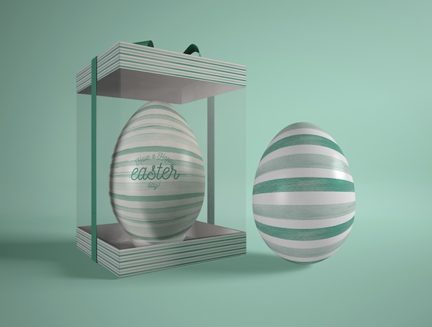 Easter egg in transparent box