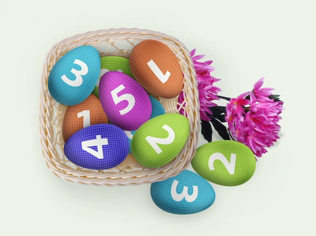Easter eggs in basket mockup with flowers