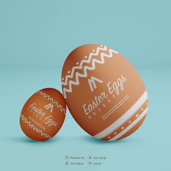 Easter eggs mockup design isolated on blue color background