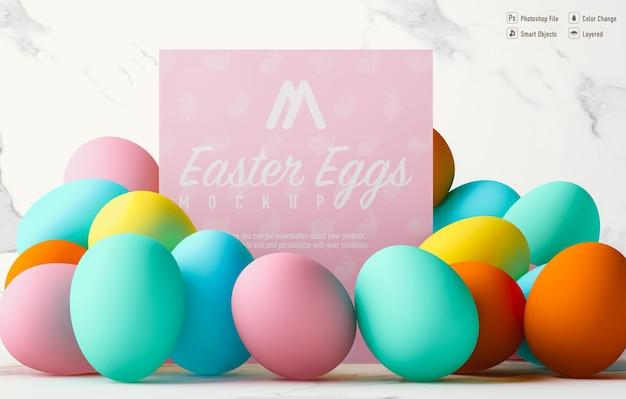 Easter eggs mockup design isolated