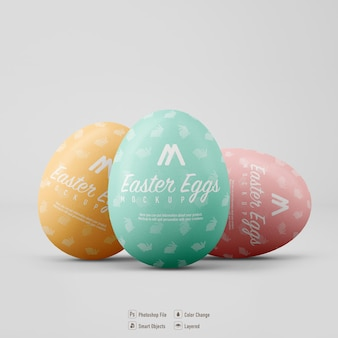 Easter eggs mockup design isolated