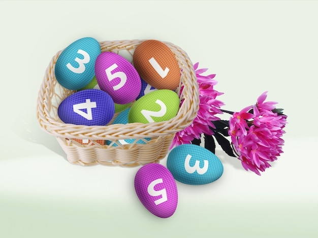 Easter eggs in wicker basket mockup