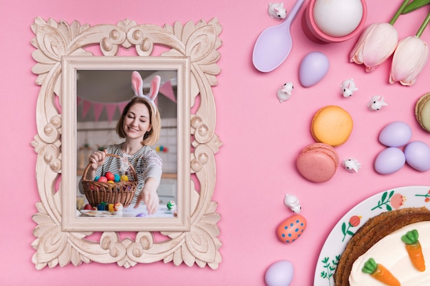 Easter frame photo and eggs