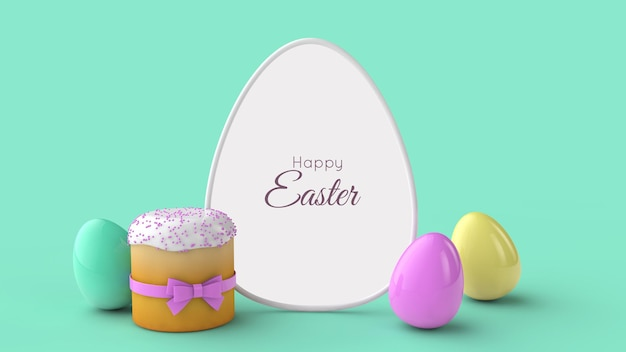 Easter greeting card template frame easter bread and eggs