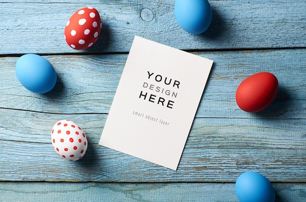 Easter holiday greeting card mockup with colored eggs