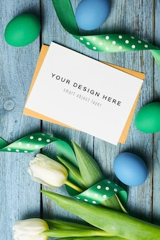 Макет поздравительной открытки к пасхе с яйцами