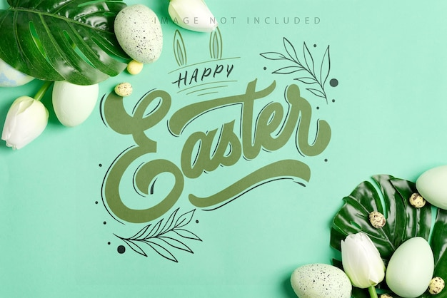 Easter mockup card from fresh green tropical leaf of monstera plant, green eggs and small quail eggs