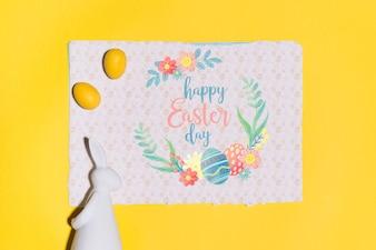 Пасхальный макет плоской кладки для поздравительной открытки
